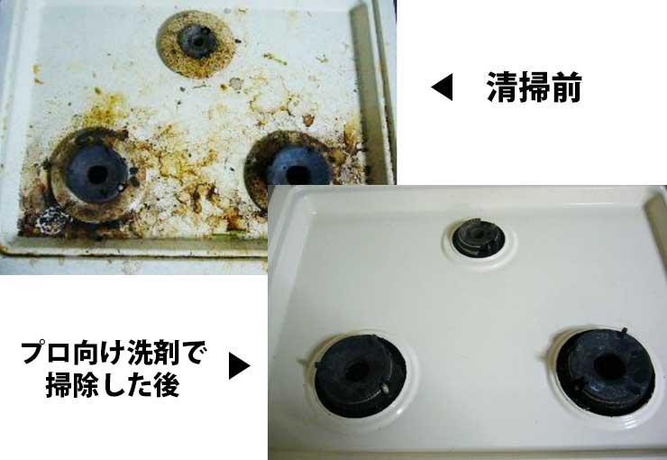 コンロ油汚れの掃除