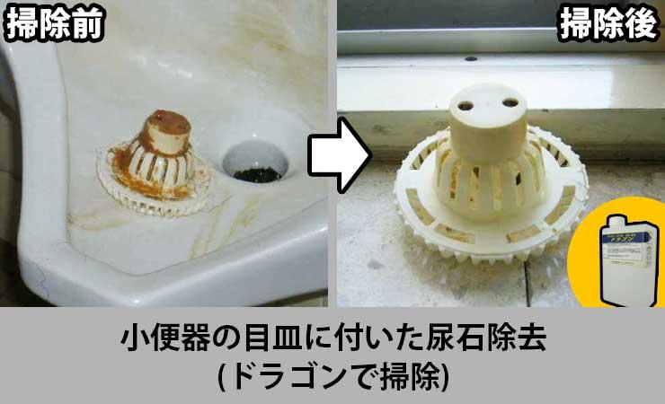 小便器目皿の尿石除去