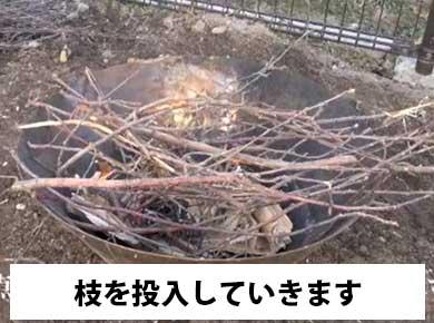 枝を燃やします
