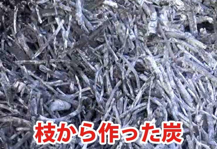 枝から作った炭