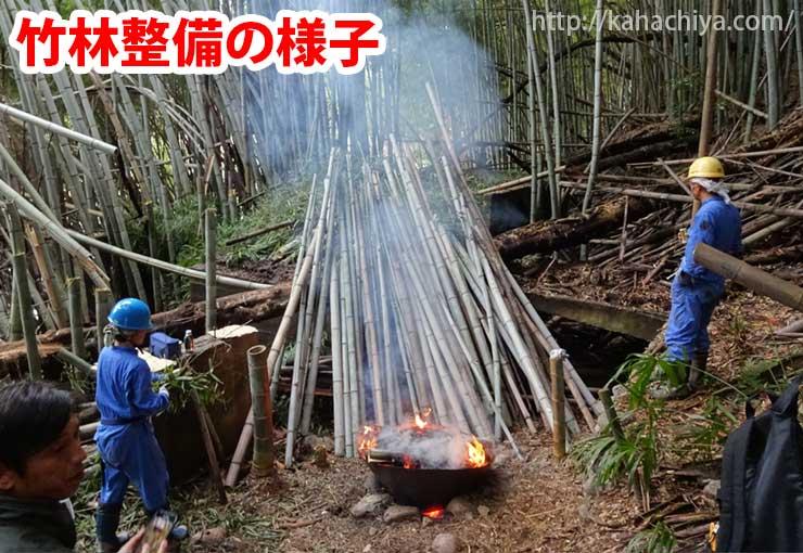 炭焼き器を使って竹林整備している様子