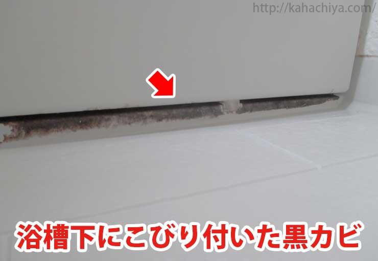 浴槽下の黒カビ