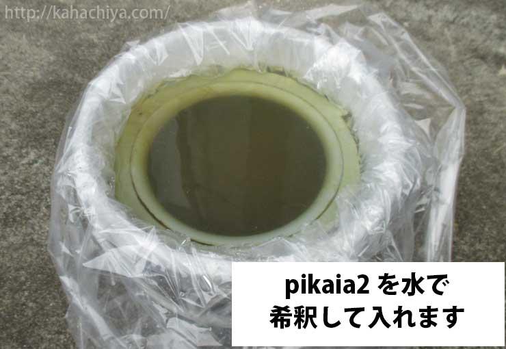 ピカイア2を水で希釈して入れます