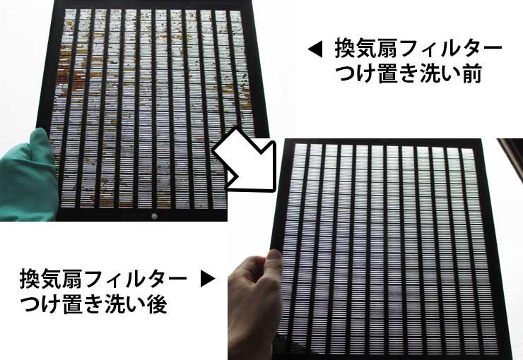 換気扇フィルター掃除前と掃除後の比較