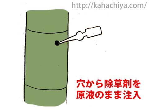竹に除草剤を注入