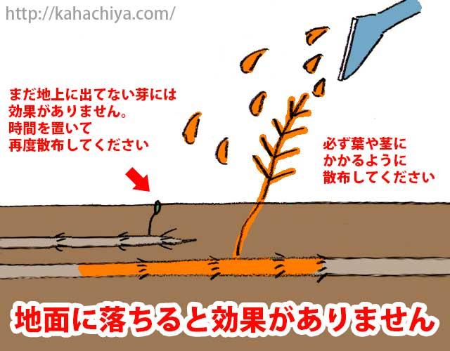 除草剤が地面に落ちると効果がありません