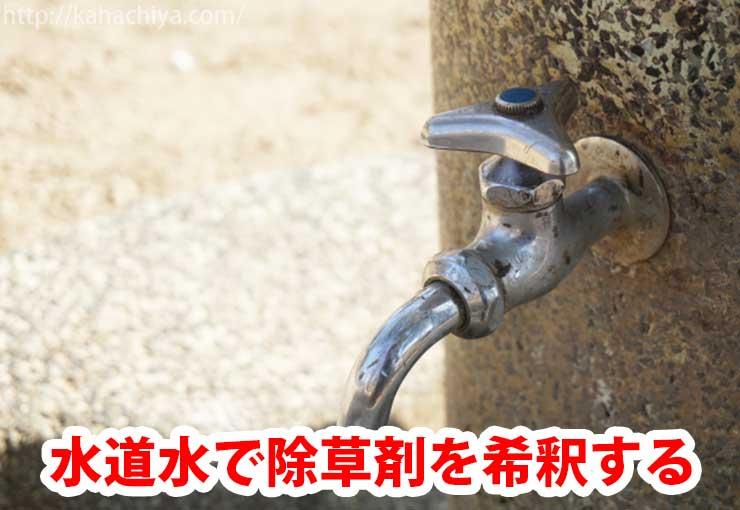 水道水で除草剤を希釈する