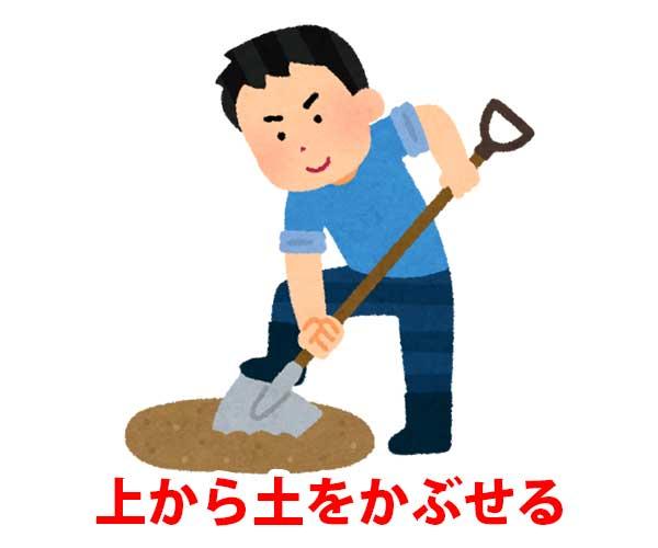 ゴミの上から土をかぶせる